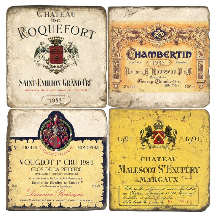 S/4 Marble Coasters, French Wines