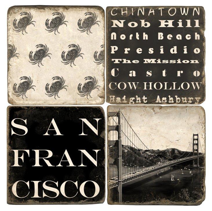 S/4 Marble Coasters, San Francisco