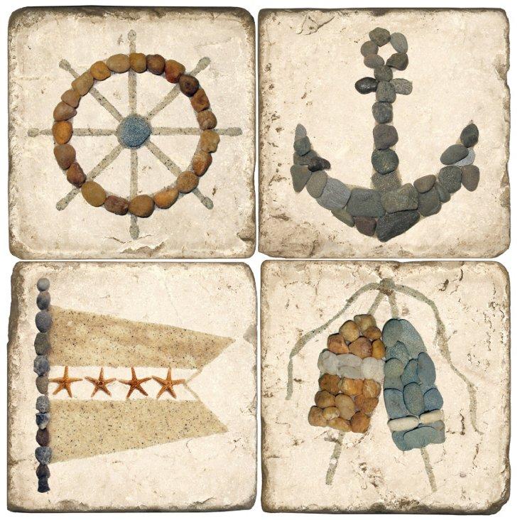 S/4 Marble Coasters, Midge Dey Nautical