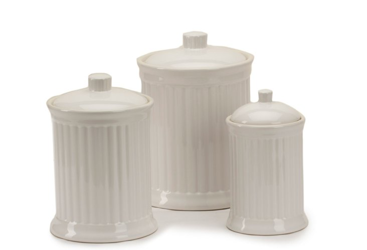 S/3 Canisters, White