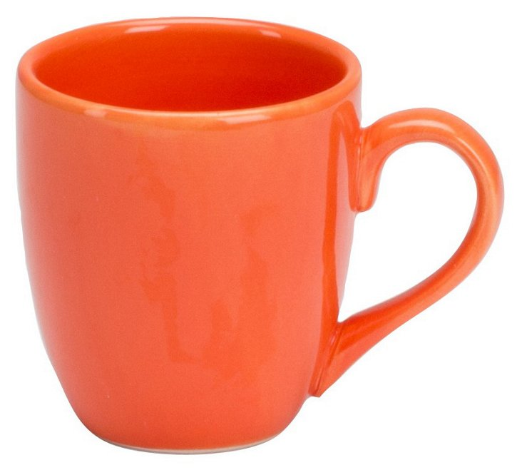 S/2 Rio Hand-Painted Mugs, Orange