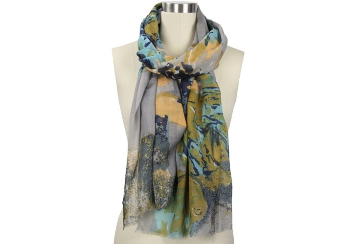 Abstract Floral Scarf, Gray/Orange