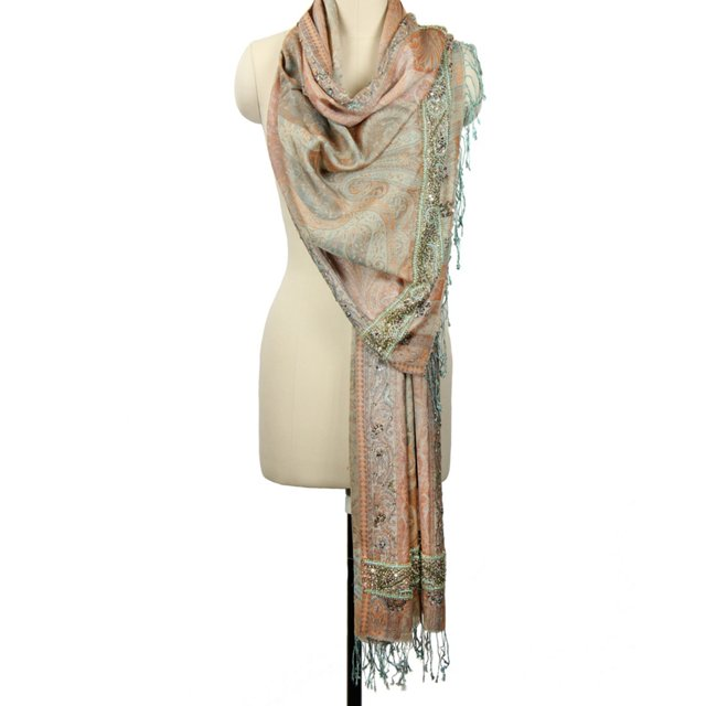 Silk Beaded Evening Wrap, Taupe
