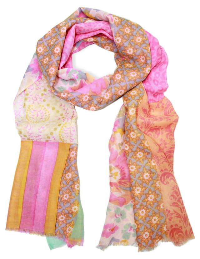 Multi Patterned Scarf, Pink/Tangerine