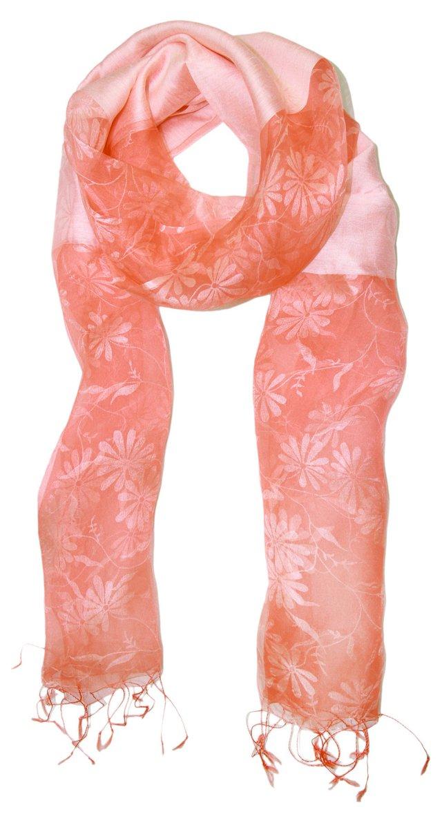 Floral Silk Scarf, Coral