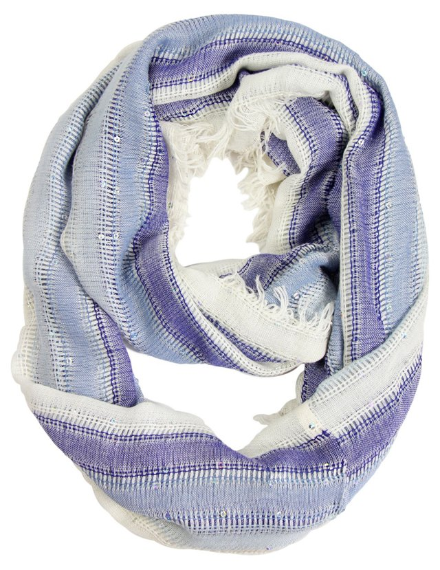 Loop Scarf with Sequins, Blue/Ivory