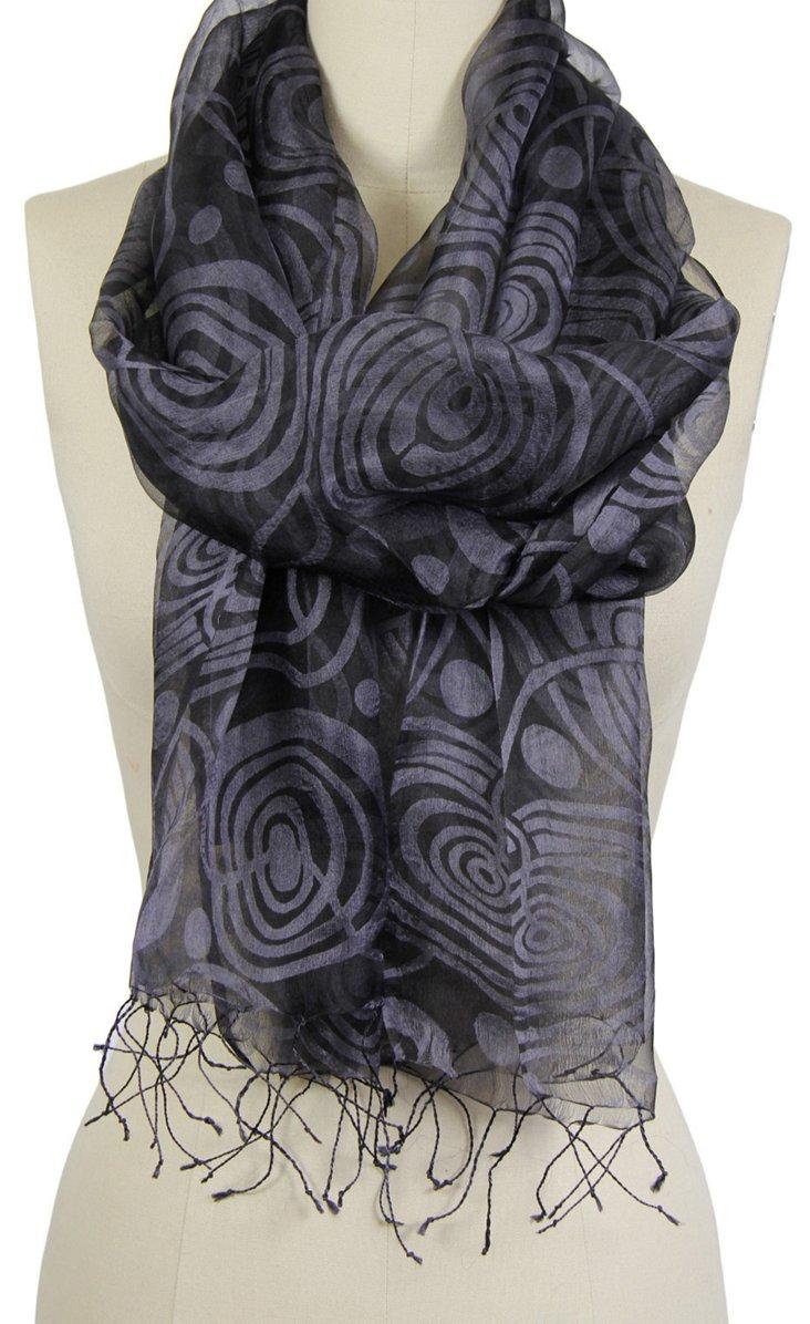 Silk Swirl Scarf, Black