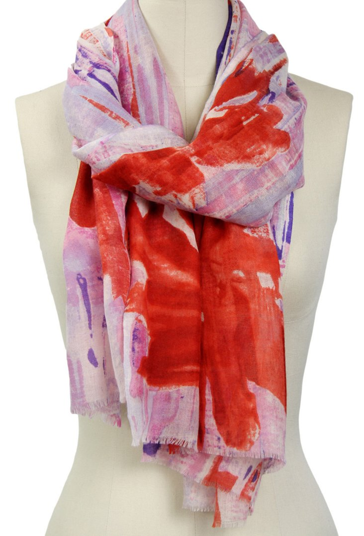 Watercolor Flower Scarf, Mauve/Red