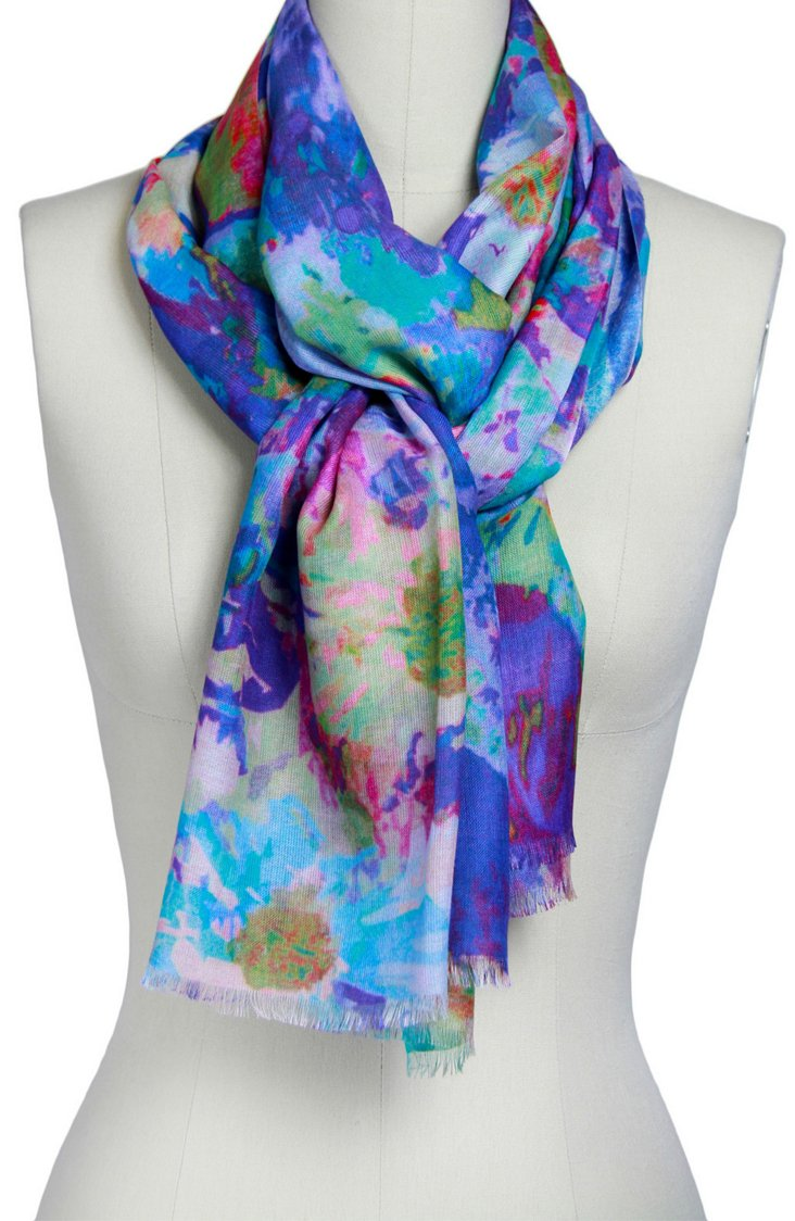 Watercolor Flower Scarf, Blue/Multi