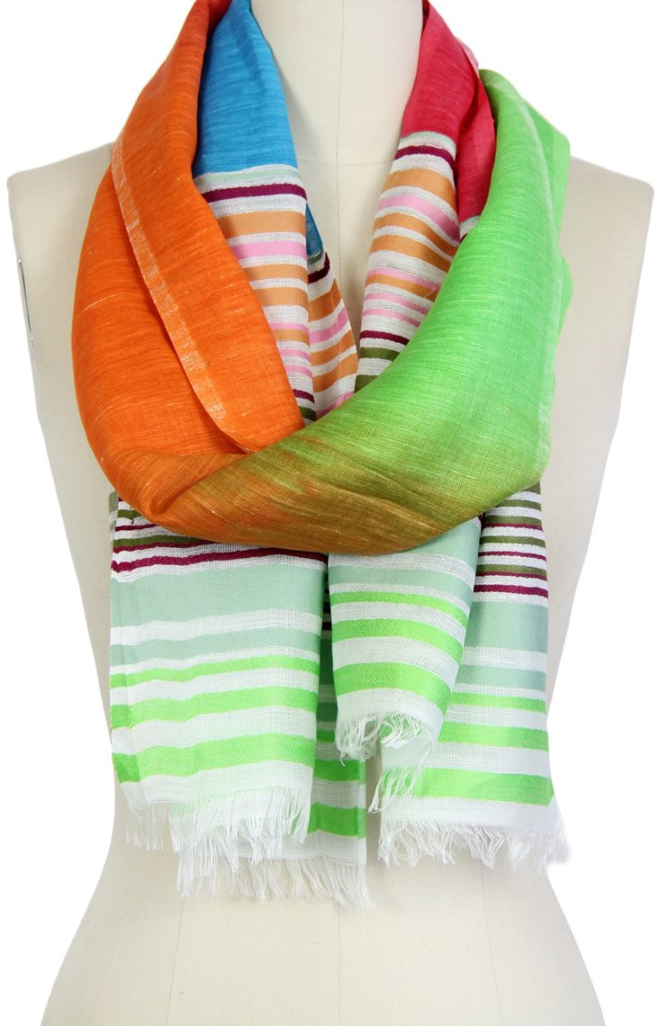 Spring Striped Scarf, Green/Multi