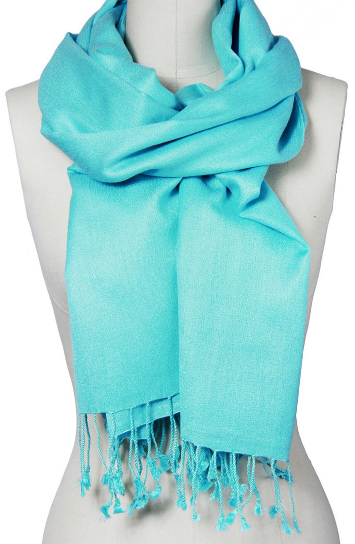 Cashmere/Silk Scarf, Turquoise