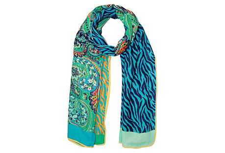 Mixed Media Printed Paisley Scarf, Teal
