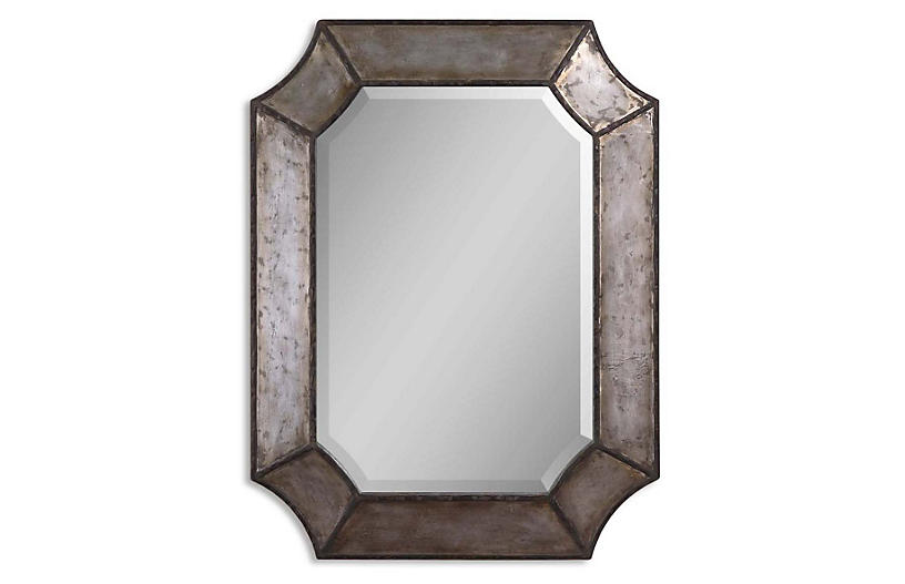 David Wall Mirror, Antiqued Silver