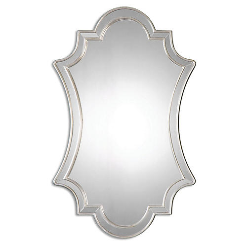 Elara Wall Mirror, Antiqued Silver
