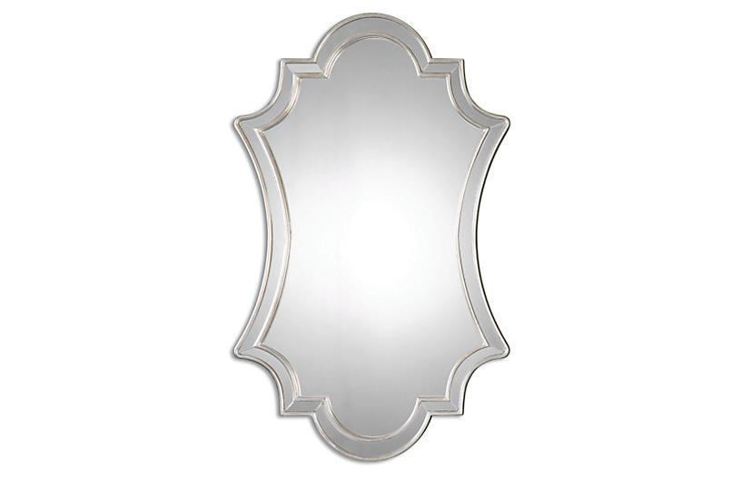 Elara Wall Mirror, Antiqued Silver