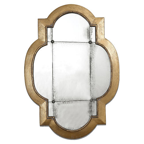 Norberto Wall Mirror, Antiqued Gold Leaf