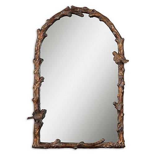 Rheba Wall Mirror, Antiqued Gold Leaf