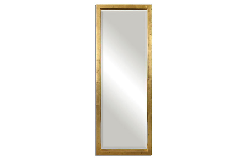 Jonah Floor Mirror, Gold Leaf
