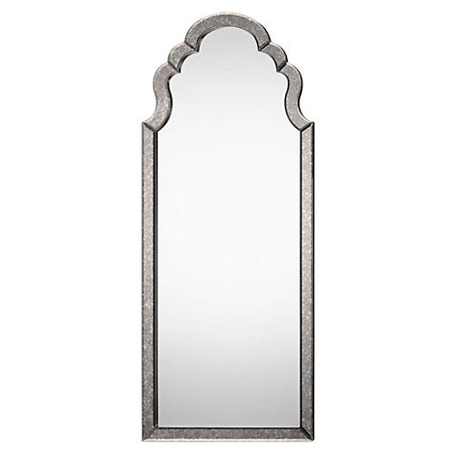 Lima Floor Mirror, Antiqued Silver