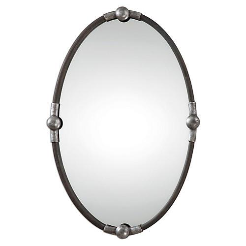 Asuncion Wall Mirror, Burnished Silver