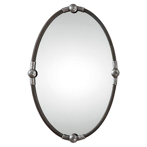 Asuncion Wall Mirror, Burnished Silver