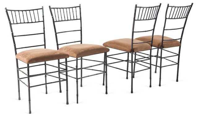 Wrought Iron Dining Chairs, Set of 4