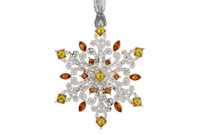 Crystal Navette Ornament, Gold