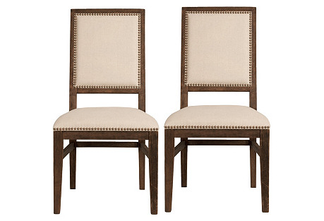 Clemmie Rustic Java Dining Chairs, Pair