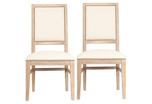 Rosa Stonewashed Linen Side Chairs, Pair