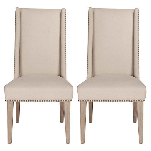 S/2 Agnes Dining Chairs, Natural