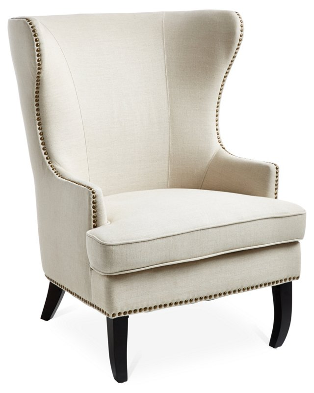 Addison Wingback Chair, Oatmeal Linen