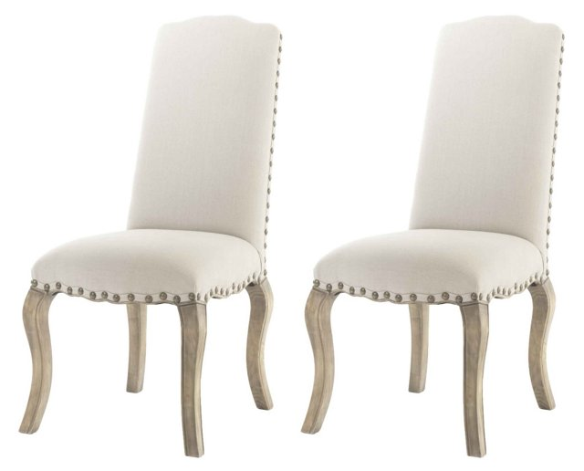 Pine Cecilia Dining Chairs, Pair