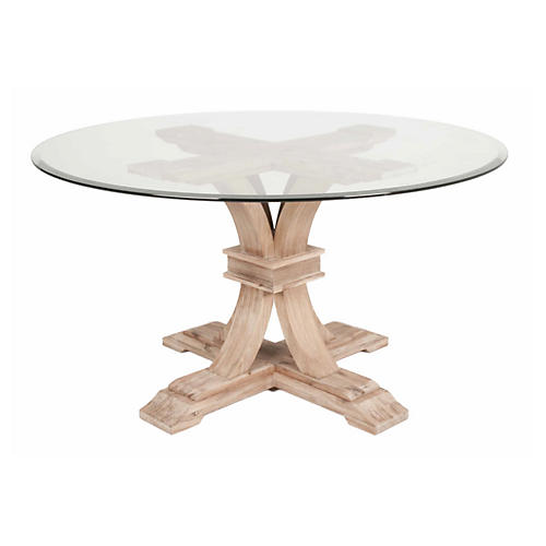 "Geneva 54"" Round Dining Table, Glass"