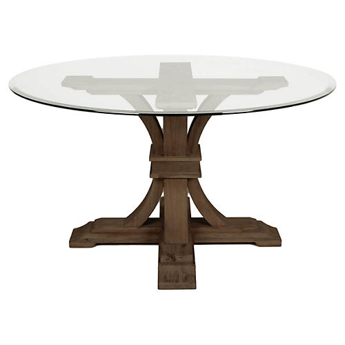 "Desmond 54"" Round Dining Table, Glass/Java"