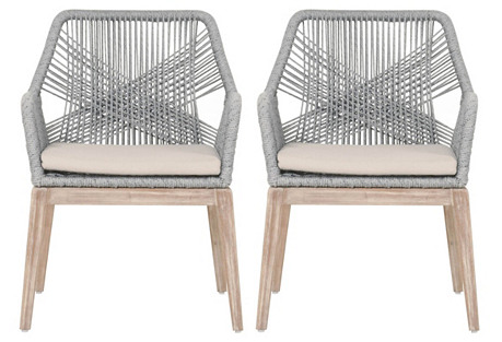 Carla Gray Rope Armchairs, Pair