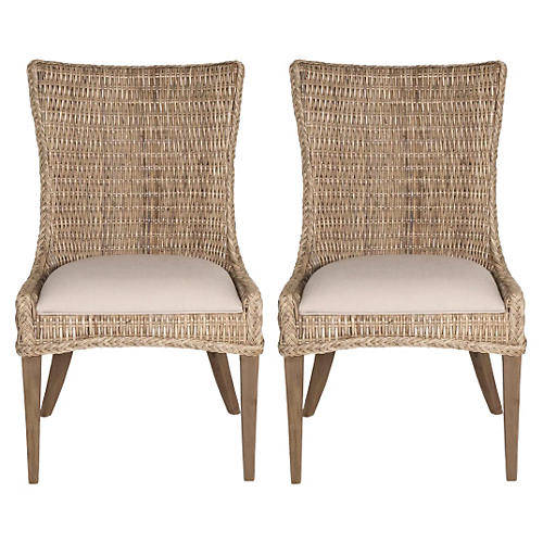 Hugo Gray Wicker Side Chairs, Pair