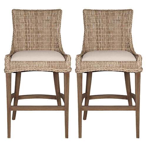 Gray Wicker Barstools, Pair