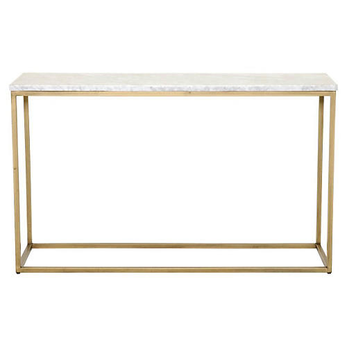 "Robin 50"" Console, Marble/Brushed Gold"