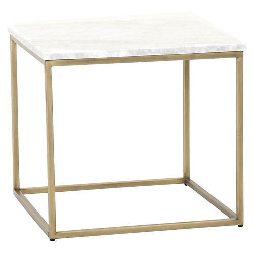 Robin Side Table, Marble/Brushed Gold