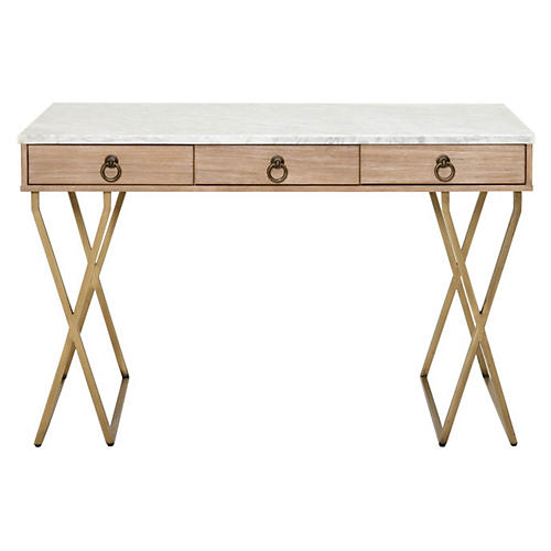Salome Desk w/Carrara, Stonewash