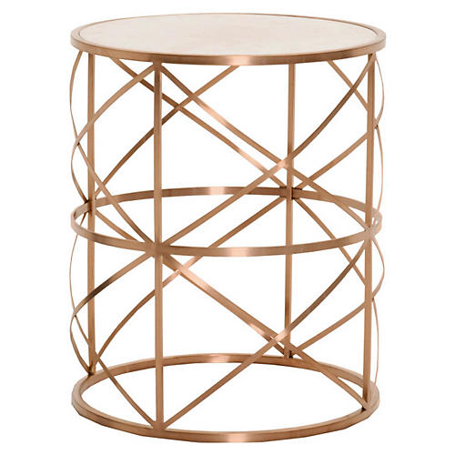 Susanne Side Table, Brushed Rose Gold
