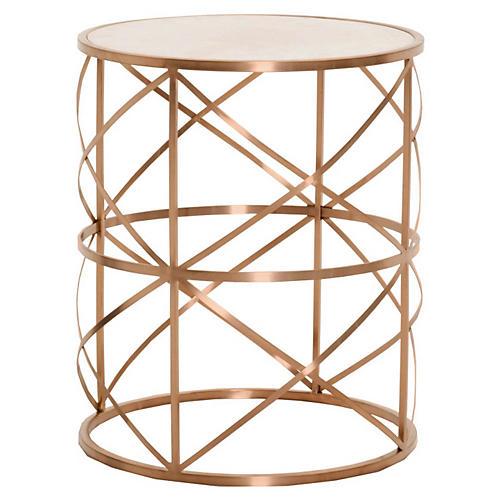 Susanne Side Table, Brushed Rose Gold