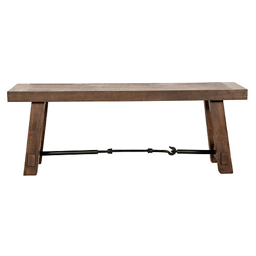 "Cara 50"" Industrial Dining Bench, Java"