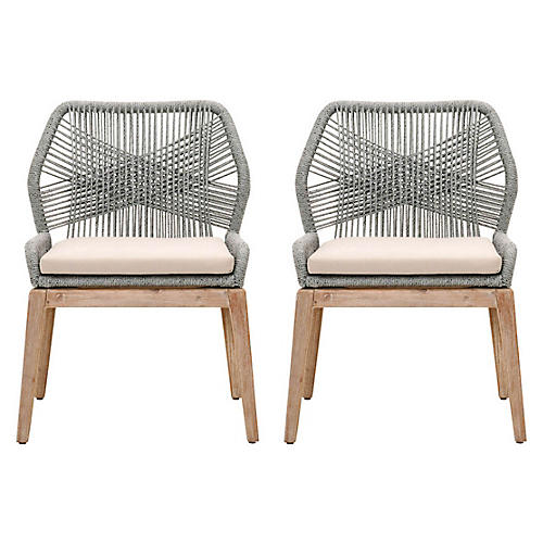 S/2 Easton Side Chairs, Platinum