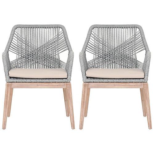 S/2 Loom Armchairs, Platinum