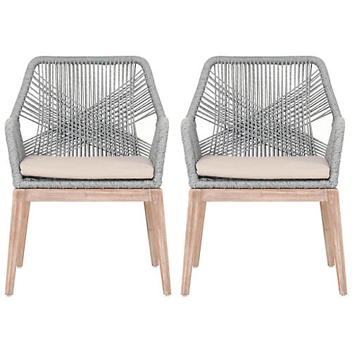 S/2 Easton Armchairs, Platinum