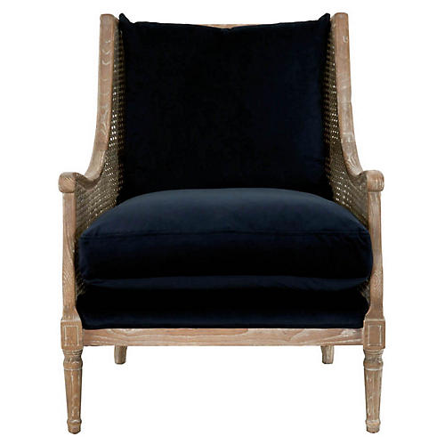 Diana Club Chair, Navy Velvet
