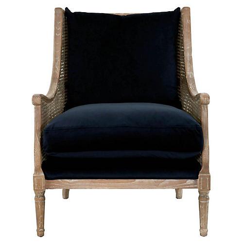 Diana Club Chair, Navy Velvet