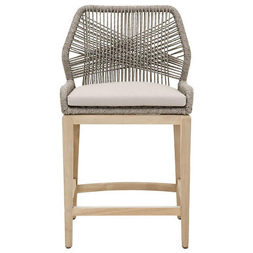 Loom Outdoor Counter Stool, Platinum