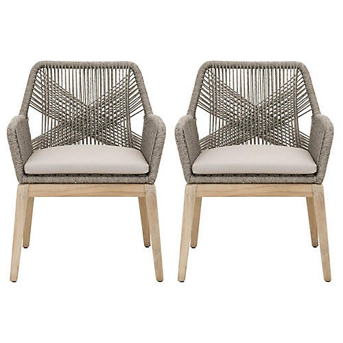 S/2 Easton Outdoor Armchairs, Platinum
